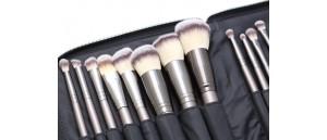 ZESTAW 18 sztuk pędzli SUNSHADE MINERALS Make-Up Studio Professional w zasuwanym etui.